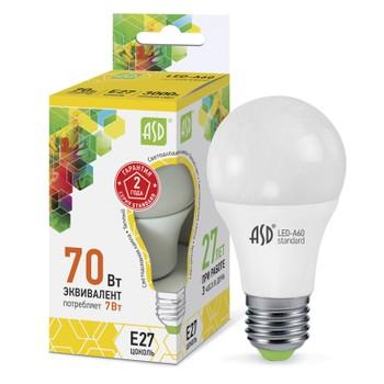 Лампа светодиодня ASD 220V 7W Е27 3000К теплый свет (шар)