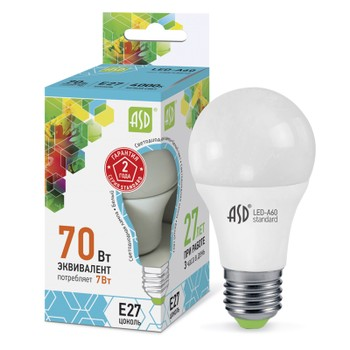 Лампа светодиодня ASD 220V 7W Е27 4000К белый свет (шар)