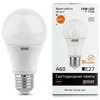Лампа светодиодная Gauss 10W E27 2700K тепл. свет
