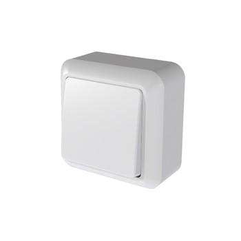 Выключатель одноклавишный белый 10А ОП Оптима