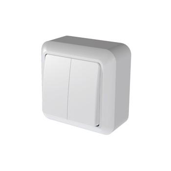Выключатель двухклавишный белый 10А ОП Оптима
