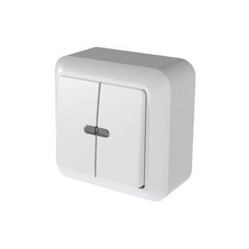 Выключатель двухклавишный белый с подсветкой 10А ОП Оптима