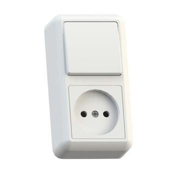 Блок (одноклавишный выключатель+розетка без заземления) белый 16А ОП Оптима