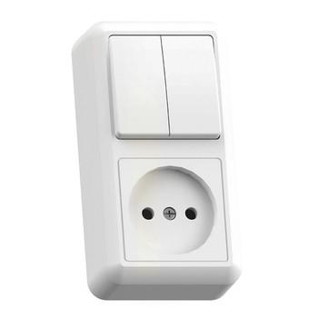Блок (двухклавишный выключатель+розетка без заземления) белый 16А ОП Оптима