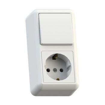 Блок (одноклавишный выключатель+розетка с заземлением) белый 16А ОП Оптима