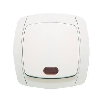 Выключатель одноклавишный белый с подсветкой 10А СП Севиль