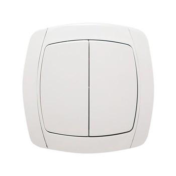 Выключатель двухклавишный белый 10А СП Севиль