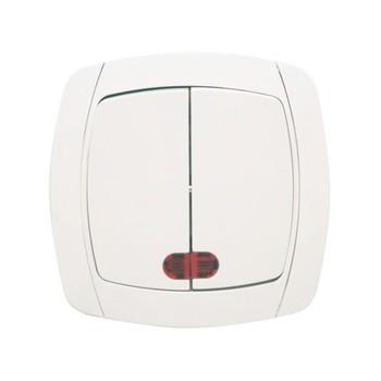 Выключатель двухклавишный белый с подсветкой 10А СП Севиль
