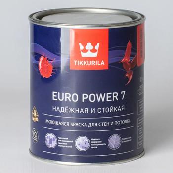 Краска для стен и потолков Tikkurila Euro Power 7, матовая, база С, 0,9л