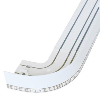 Карниз потолочный с узорной планкой (белый) для штор трехрядный 2,4 м, Магеллан