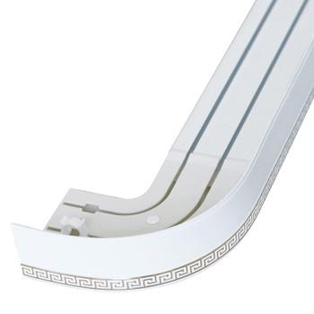Карниз потолочный с узорной планкой (белый) для штор двухрядный 2,0 м, Магеллан