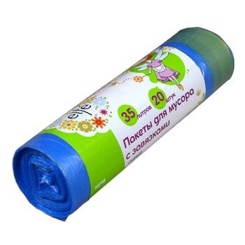 Мешки для мусора с завязками 35л., 20шт/рул., 12мкм