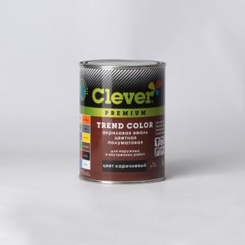 Эмаль акриловая Clever коричневая полуматовая, 1кг