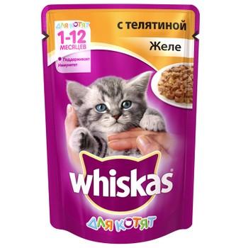 Корм для котят желе с телятиной 85г, Whiskas