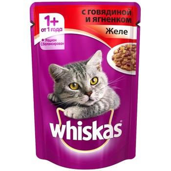 Корм желе говядина/ягненок 85г, Whiskas