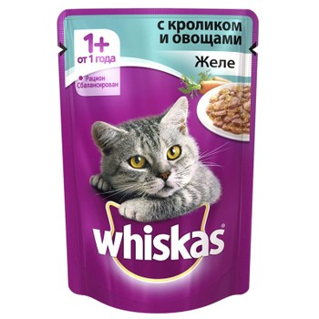 Корм желе кролик с овощами 85г, Whiskas