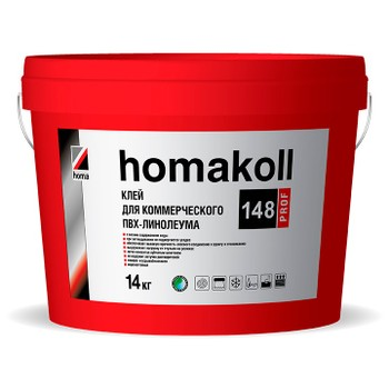 Клей Homakoll для ПВХ покрытий (148, морозостойкий, 300-500 г/м2, для коммерческого линолеума , срок хранения 24 мес., 14 кг)
