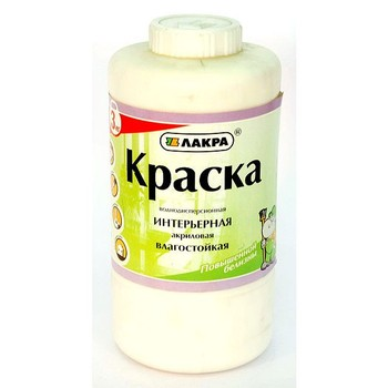 Краска ЛАКРА интерьерная акрил. влагост. (повыш.бел.), 3кг (банка)