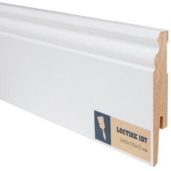 Плинтус Arbiton Loctike 107, МР1003, белый, 2420х100х15 мм.