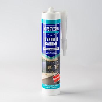 Герметик силиконовый Krass для кухни и ванной (бесцветный), 300 мл