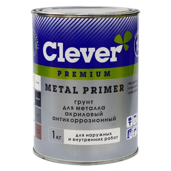 Грунт акриловый универсальный серый Clever, 1 кг