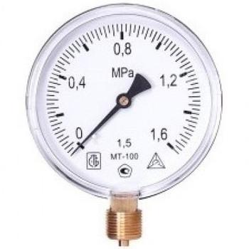 Манометр радиальный 10 бар (кгс/см2), d=100мм, M20x1.5, МТ-100