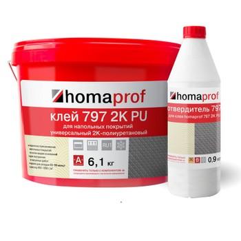 Клей Homakoll 797 PU 2К, 7кг (6,09+0,91 кг), 450-1200 гр/м2, для наружних и внутренних работ, морозостойкий