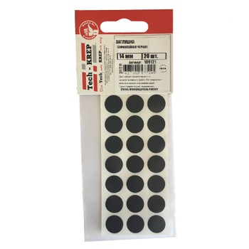 Заглушка самоклейка 14 мм черная (20 шт) - пакет Tech-Krep