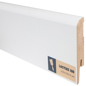 Плинтус Arbiton Loctike 108, МР1004, белый, 2420х100х15 мм.