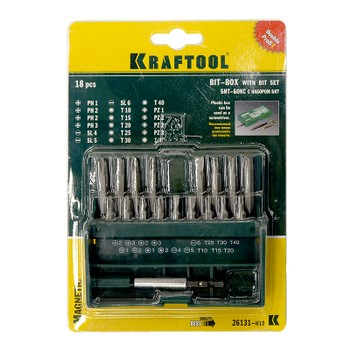 Набор бит с магнитным адаптером, 18 предм., KRAFTOOL