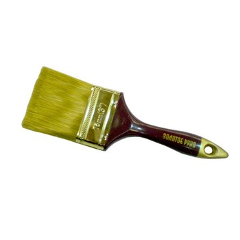 Кисть плоская #3(75мм) искусств. щетина, дерев. ручка, Золотое руно