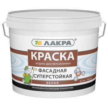 Краска ЛАКРА фасадная (белая), 6,5кг