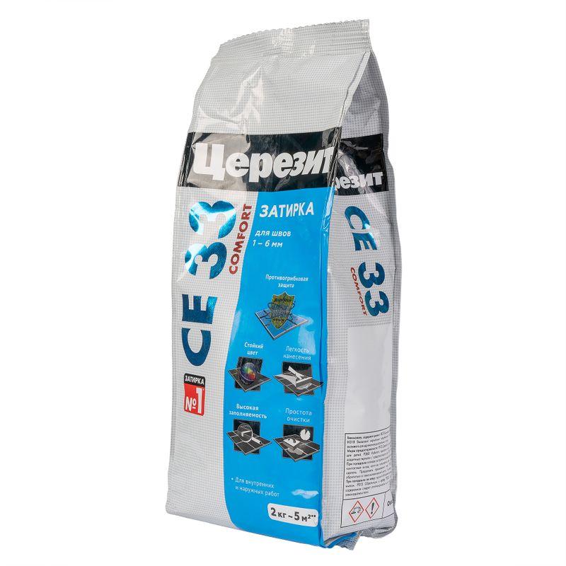 Затирка Ceresit CE 33 comfort антрацит, 2 кг<br>Бренд: Ceresit; Название: CE33; Тип: Сухая; Основа смеси: Цементная; Цвет: Серый; Температура эксплуатации: От -50 до +70 °С; Температура нанесения: От +5 до +30 °С; Толщина шва: От 1 до 5  мм.; Основание: Цементная штукатурка; Основание: Керамическая плитка; Основание: Керамогранит; Основание: Бетон; Область применения: Для бассейнов; Область применения: Для помещений с повышенной влажностью; Цвет производителя: Антрацит; Особые свойства: Водоотталкивающая; Особые свойства: С добавками против плесени; Особые свойства: Морозостойкая; Упаковка: 2 кг; Тип работ: Для наружных работ; Тип работ: Для внутренних работ; Расход воды на 1 кг. смеси: 0,32-0,33  л.; Допустимость хождения через: 24  ч.; Прочность на сжатие через 28 суток: 15 МПа; Адгезия к основанию: 0,5 МПа; Морозостойкость: F 100; Время жизни раствора: 60  мин.; Срок хранения: 12  мес.;