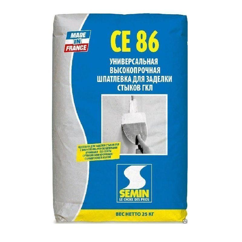 Шпаклевка для заделки стыков и швов СЕ 86, 25 кг<br>Тип шпаклевки: Универсальная; Основа смеси: Гипсовая; Расход смеси при слое 1 мм.: 0,9 кг/м?; Вес: 25 кг;