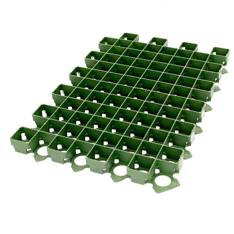 Решетка газонная пластиковая зел. 630x430x38 мм, 8101-ЗРешетка газонная пластиковая зеленая Standartpark (630x430x38 мм) 8101-З <br><br>Пластиковый модуль газонной решетки размером ДxШxВ 630x430x38 мм, с квадратными ячейками, цвет зеленый, для обустройства газонов в местах с нагрузкой на поверхность до 40 тонн.<br><br>НАЗНАЧЕНИЕ:<br><br>Обустройство и укрепление часто и интенсивно нагружаемых (до 40 тонн на кв. м.) газонов любого размера;<br><br>Паркинги у торговых и выставочных комплексов, во дворах жилых домов и коттеджей, стоянки грузового, легкового и спецтранспорта;<br><br>Облагораживание городских озеленительных участков и территорий (аллеи, тротуары, детские площадки);<br><br>Озеленение крыш и террас;<br><br>Устройство насыпей, укрепление дорожных склонов и откосов;<br><br>Создание временного настила (праздники, мероприятия, кемпинги).<br><br>ПРЕИМУЩЕСТВА:<br><br>Модульность: возможность создание полотна любого размера;<br><br>Прочность (максимальная нагрузка до 40 тонн на кв. м.): полотно укрепляет травяное покрытие и распределяет нагрузку, т. о. может устанавливаться под стоянку грузовых машин;<br><br>Эстетичность: под цвет травы (отлично смотрится на детских площадках);<br><br>Простота установки и транспортировки (вес модуля 1,5 кг, легко пилится ножовкой, замковая система собирается без лишних усилий, оптимальная скорость монтажа &amp;ndash; около 35-40 кв. м в час);<br><br>Обеспечивает дренаж почвы (при правильном проектировании и монтаже экогазон может заменить дополнительные ливневые стоки);<br><br>Позволяет равномерно развиваться корневой системе газона и применять газонокосилку для ухода за газоном;<br><br>Нескользкая поверхность решетки обеспечивает лучшее сцепление с колесами автомобиля;<br><br>Эффективное распределение нагрузки позволяет снизить толщину подложки (от 200 до 500 мм в зависимости от предполагаемой нагрузки), что сокращает время и затраты на обустройство газона.<br><br>Устойчивость к атмосферным воздействиям (не подвержена коррозии), 