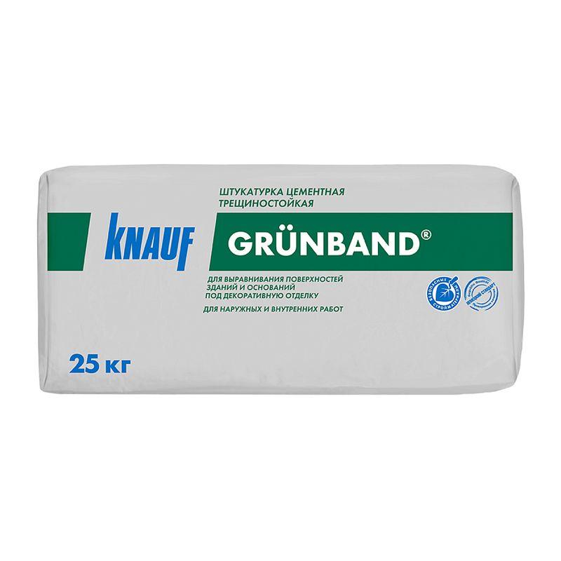 Купить Штукатурка Кнауф Грюнбанд фасадная цементная, 25 кг, Knauf, Серый