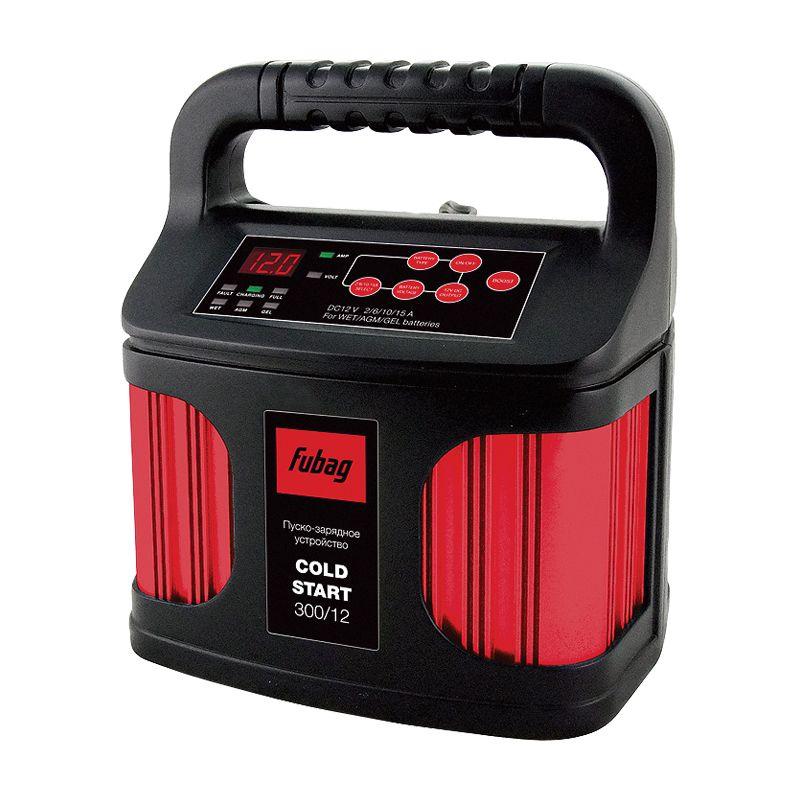 Пускозарядное устройство FUBAG COLD START 300/12<br>Макс. емкость аккумулятора: 6-300 Ач; Макс. ток запуска: 50 А; Макс. ток зарядки: 2-15 А; Рабочее напряжение: 220 В; Вес: 1,35 кг;