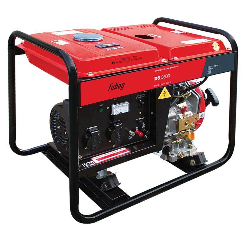 Генератор дизельный FUBAG DS 3600<br>Бренд: Fubag; Номинальный ток: 11,75 А; Вес: 70,0 кг;