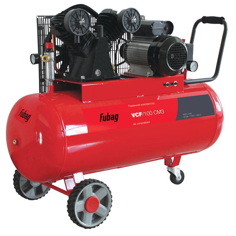 Компрессор FUBAG VCF/100 CM3<br>Бренд: Fubag; Тип: Поршневой; Принцип действия: Объемный; Область применения: Общего применения; Мощность: 2,2 КВт; Производительность: 440 л/мин; Количество цилиндров: 2 шт.; Особенности: Защита от перегрева; Охлаждение: Воздушное; Напряжение: 220 В; Давление на выходе: 1 МПа; Объем ресивера: 100 л; Питание: От сети; Приводной механизм: Электродвигатель; Тип смазки: Масляный; Тип манометра: Стрелочный; Частота: 50 Гц; Длина: 1050 мм; Ширина: 420 мм; Высота: 850 мм; Мобильность: Передвижной; Размеры: 1050х420х850; Вес: 71 кг;