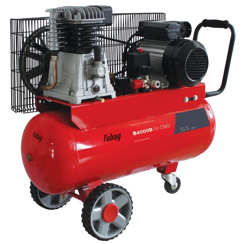 Компрессор FUBAG B4000B/50 CM3<br>Бренд: Fubag; Тип: Поршневой; Принцип действия: Объемный; Область применения: Общего применения; Мощность: 2,2 КВт; Производительность: 400 л/мин; Количество цилиндров: 2 шт.; Количество ступеней сжатия: 1 ст.; Особенности: Транспортировачные колеса; Охлаждение: Воздушное; Напряжение: 220 В; Давление на выходе: 10 МПа; Объем ресивера: 50 л; Питание: От сети; Приводной механизм: Электродвигатель; Тип смазки: Масляный; Тип манометра: Стрелочный; Частота: 50 Гц; Длина: 810 мм; Ширина: 390 мм; Высота: 690 мм; Мобильность: Передвижной; Вес: 50 кг;
