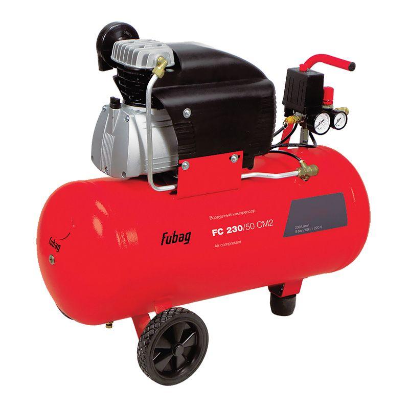 Компрессор FUBAG FC 230/50 CM2<br>Бренд: Fubag; Тип: Поршневой; Принцип действия: Объемный; Область применения: Общего применения; Мощность: 1,5 КВт; Производительность: 230 л/мин; Количество цилиндров: 1 шт.; Количество ступеней сжатия: 1 ст.; Особенности: Транспортировачные колеса; Охлаждение: Воздушное; Напряжение: 220 В; Давление на выходе: 8 МПа; Объем ресивера: 50 л; Питание: От сети; Приводной механизм: Электродвигатель; Тип смазки: Масляный; Тип манометра: Стрелочный; Частота: 50 Гц; Длина: 830 мм; Ширина: 330 мм; Высота: 650 мм; Мобильность: Передвижной; Вес: 35,8 кг;