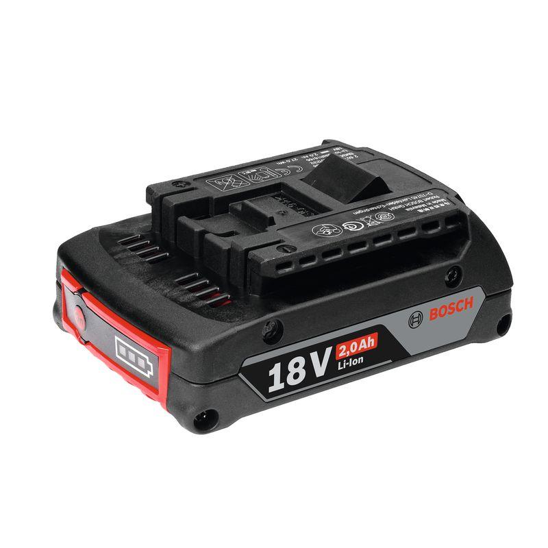Аккумуляторный блок GBA 18 V 2.0 Ah M-BАккумуляторный&amp;nbsp;блок&amp;nbsp;BOSCH&amp;nbsp;GBA&amp;nbsp;18V&amp;nbsp;2,0&amp;nbsp;Ah&amp;nbsp;M-B&amp;nbsp;Professional<br><br>Компактная&amp;nbsp;и&amp;nbsp;легкая&amp;nbsp;литий-ионная&amp;nbsp;батарея&amp;nbsp;для&amp;nbsp;профессиональных&amp;nbsp;аккумуляторных&amp;nbsp;инструментов&amp;nbsp;BOSCH&amp;nbsp;(с&amp;nbsp;классом&amp;nbsp;напряжения&amp;nbsp;18В).<br><br>НАЗНАЧЕНИЕ:<br><br>Независимый&amp;nbsp;источник&amp;nbsp;питания&amp;nbsp;инструментов&amp;nbsp;для&amp;nbsp;дерево-,&amp;nbsp;металлообработки,&amp;nbsp;строительства&amp;nbsp;и&amp;nbsp;ремонта.<br><br>ПРЕИМУЩЕСТВА:<br><br>Емкость&amp;nbsp;аккумуляторной&amp;nbsp;батареи&amp;nbsp;&amp;ndash;&amp;nbsp;2,0Ah;<br>Удобство&amp;nbsp;и&amp;nbsp;комфорт&amp;nbsp;при&amp;nbsp;использовании&amp;nbsp;(вес&amp;nbsp;&amp;ndash;&amp;nbsp;350г,&amp;nbsp;габариты,&amp;nbsp;ДхШхВ&amp;nbsp;&amp;ndash;&amp;nbsp;113х75х40мм,&amp;nbsp;позволяют&amp;nbsp;производить&amp;nbsp;работы&amp;nbsp;в&amp;nbsp;труднодоступных&amp;nbsp;местах);<br>Электронная&amp;nbsp;система&amp;nbsp;Electronic&amp;nbsp;Cell&amp;nbsp;Protection&amp;nbsp;предотвращает&amp;nbsp;полную&amp;nbsp;разрядку&amp;nbsp;аккумулятора&amp;nbsp;(при&amp;nbsp;разряженном&amp;nbsp;накопителе&amp;nbsp;<br><br>эл.энергии,&amp;nbsp;рабочий&amp;nbsp;инструмент&amp;nbsp;перестает&amp;nbsp;работать);<br>Система&amp;nbsp;COOLPACK&amp;nbsp;увеличивает&amp;nbsp;время&amp;nbsp;работы&amp;nbsp;аккумулятора&amp;nbsp;на&amp;nbsp;65% (по&amp;nbsp;сравнению&amp;nbsp;с&amp;nbsp;аналогичной&amp;nbsp;батареей&amp;nbsp;предыдущего&amp;nbsp;поколения)&amp;nbsp;и&amp;nbsp;положительно&amp;nbsp;влияет&amp;nbsp;на&amp;nbsp;его&amp;nbsp;функционирование&amp;nbsp;при&amp;nbsp;пониженных&amp;nbsp;температурах;<br>Литий-ионная&amp;nbsp;технология&amp;nbsp;препятствует&amp;nbsp;саморазряду&amp;nbsp;и&amp;nbsp;&amp;laquo;эффекту&amp;nbsp;памяти&amp;raquo;&amp;nbsp;аккумуляторной&amp;nbsp;батареи;<br>Аккумулятор&amp;nbsp;совместим&amp;nbs