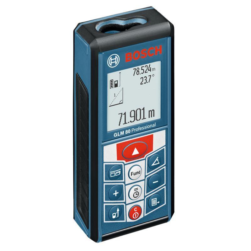 Дальномер лазерный BOSCH GLM 80Лазерный&amp;nbsp;дальномер&amp;nbsp;Bosch&amp;nbsp;GLM&amp;nbsp;80&amp;nbsp;Professional<br><br>Электронно-оптический&amp;nbsp;прибор&amp;nbsp;для&amp;nbsp;быстрого&amp;nbsp;и&amp;nbsp;точного&amp;nbsp;определения&amp;nbsp;расстояния&amp;nbsp;с&amp;nbsp;помощью&amp;nbsp;лазерного&amp;nbsp;луча.<br><br>НАЗНАЧЕНИЕ:<br><br>Измерение&amp;nbsp;расстояний,&amp;nbsp;длин,&amp;nbsp;высот,&amp;nbsp;удалений&amp;nbsp;(до&amp;nbsp;80&amp;nbsp;метров);<br>Замер&amp;nbsp;вертикального&amp;nbsp;угла&amp;nbsp;наклона;<br>Расчёт&amp;nbsp;площадей&amp;nbsp;и&amp;nbsp;объёмов.<br><br>ПРЕИМУЩЕСТВА:<br><br>Пригоден&amp;nbsp;для&amp;nbsp;работ&amp;nbsp;в&amp;nbsp;помещениях&amp;nbsp;и&amp;nbsp;на&amp;nbsp;открытом&amp;nbsp;воздухе;<br>Простота&amp;nbsp;управления&amp;nbsp;&amp;ndash;&amp;nbsp;удобные&amp;nbsp;крупные&amp;nbsp;клавиши;<br>Возможность&amp;nbsp;применения&amp;nbsp;штатива&amp;nbsp;&amp;ndash;&amp;nbsp;корпус&amp;nbsp;оснащён&amp;nbsp;резьбой;<br>Долговечность&amp;nbsp;и&amp;nbsp;прочность&amp;nbsp;&amp;ndash;&amp;nbsp;корпус&amp;nbsp;из&amp;nbsp;ударопрочного&amp;nbsp;пластика&amp;nbsp;с&amp;nbsp;резиновыми&amp;nbsp;накладками;<br>Защита&amp;nbsp;от&amp;nbsp;пыли&amp;nbsp;и&amp;nbsp;брызг&amp;nbsp;воды&amp;nbsp;-&amp;nbsp;IP54;<br>Яркий&amp;nbsp;дисплей&amp;nbsp;с&amp;nbsp;подсветкой,&amp;nbsp;графической&amp;nbsp;индикацией&amp;nbsp;и&amp;nbsp;функцией&amp;nbsp;автоматического&amp;nbsp;поворота;<br>Быстрота&amp;nbsp;и&amp;nbsp;точность&amp;nbsp;измерений&amp;nbsp;&amp;ndash;&amp;nbsp;погрешность&amp;nbsp;&amp;plusmn;1,5мм, &amp;plusmn;0,2&amp;nbsp;и&amp;nbsp;время&amp;nbsp;&amp;nbsp;0,5сек&amp;nbsp;(при&amp;nbsp;стандартных&amp;nbsp;условиях);<br>Класс&amp;nbsp;лазера&amp;nbsp;II&amp;nbsp;(мощность&amp;nbsp;&amp;nbsp;1мВт) -&amp;nbsp;луч&amp;nbsp;может&amp;nbsp;представлять&amp;nbsp;опасность&amp;nbsp;только&amp;nbsp;при&amp;nbsp;прямом&amp;nbsp;и&amp;nbsp;длительном&amp;nbsp;воздействии&amp;nbsp;на&amp;nbsp;глаз;<br>Работает&amp;nbsp;от&am