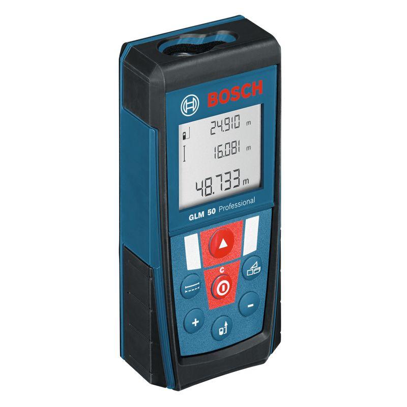 Дальномер лазерный BOSCH GLM 50Лазерный&amp;nbsp;дальномер&amp;nbsp;Bosch&amp;nbsp;GLM&amp;nbsp;50&amp;nbsp;Professional<br><br>Электронно-оптический&amp;nbsp;прибор&amp;nbsp;для&amp;nbsp;быстрого&amp;nbsp;и&amp;nbsp;точного&amp;nbsp;определения&amp;nbsp;расстояния&amp;nbsp;с&amp;nbsp;помощью&amp;nbsp;лазерного&amp;nbsp;луча.<br><br>НАЗНАЧЕНИЕ:<br><br>Измерение&amp;nbsp;расстояний,&amp;nbsp;длин,&amp;nbsp;высот,&amp;nbsp;удалений&amp;nbsp;(до&amp;nbsp;50&amp;nbsp;метров);<br>Расчёт&amp;nbsp;площадей&amp;nbsp;и&amp;nbsp;объёмов.<br><br>ПРЕИМУЩЕСТВА:<br><br>Компактность&amp;nbsp;и&amp;nbsp;лёгкость&amp;nbsp;&amp;ndash;&amp;nbsp;небольшой&amp;nbsp;размер&amp;nbsp;прибора;<br>Удобство&amp;nbsp;управления&amp;nbsp;&amp;ndash;&amp;nbsp;крупные,&amp;nbsp;далеко&amp;nbsp;расположенные&amp;nbsp;клавиши,&amp;nbsp;исключают&amp;nbsp;одновременное&amp;nbsp;нажатие;<br>Подходит&amp;nbsp;для&amp;nbsp;работ&amp;nbsp;внутри&amp;nbsp;помещений&amp;nbsp;и&amp;nbsp;на&amp;nbsp;открытом&amp;nbsp;воздухе;<br>Возможность&amp;nbsp;применения&amp;nbsp;штатива&amp;nbsp;&amp;ndash;&amp;nbsp;есть&amp;nbsp;резьба&amp;nbsp;на&amp;nbsp;корпусе;<br>Долговечность&amp;nbsp;и&amp;nbsp;прочность&amp;nbsp;(ударопрочный&amp;nbsp;пластик&amp;nbsp;корпуса&amp;nbsp;с&amp;nbsp;резиновыми&amp;nbsp;накладками);<br>Защита&amp;nbsp;от&amp;nbsp;пыли&amp;nbsp;и&amp;nbsp;брызг&amp;nbsp;воды&amp;nbsp;-&amp;nbsp;IP54;<br>Яркий&amp;nbsp;трёхстрочный&amp;nbsp;дисплей&amp;nbsp;с&amp;nbsp;подсветкой,&amp;nbsp;позволяет&amp;nbsp;делать&amp;nbsp;замеры&amp;nbsp;в&amp;nbsp;темноте,&amp;nbsp;текущий&amp;nbsp;замер&amp;nbsp;имеет&amp;nbsp;больший&amp;nbsp;размер&amp;nbsp;шрифта;<br>Быстрота&amp;nbsp;и&amp;nbsp;точность&amp;nbsp;измерений&amp;nbsp;&amp;ndash;&amp;nbsp;погрешность&amp;nbsp;&amp;plusmn;1,5мм&amp;nbsp;и&amp;nbsp;время&amp;nbsp;&amp;nbsp;0,5сек&amp;nbsp;(при&amp;nbsp;стандартных&amp;nbsp;условиях);<br>Класс&amp;nbsp;лазера&amp;nbsp;II&amp;nbsp;(мощность&amp;nbsp;&amp;nbsp;1мВт) -&amp;nbsp;луч&amp;nbsp;может&amp;