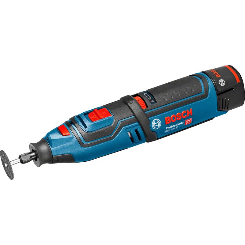 Гравер аккумуляторный BOSCH GRO 12V-35Аккумуляторный ротационный инструмент GRO 12 V-35 BOSCH<br><br>Мощный многофункциональный аккумуляторный инструмент.<br><br>НАЗНАЧЕНИЕ:<br><br>Шлифование, сверление, резка, фрезерование и полировка.<br><br>ПРЕИМУЩЕСТВА:<br><br>Работа от аккумулятора (использование независимо от сети);<br><br>Мощный двигатель с высокой частотой вращения (высокая производительность);<br><br>Модели инструментов, аккумуляторы и зарядные устройства с номенклатурой 12V совместимы с моделями 10,8V;<br><br>Компактные размеры (эксплуатация в затрудненных местах);<br><br>Самостоятельный выбор оборотов частоты вращения (удобно при применении разных насадок и при работе с разными материалами);<br><br>Доступная и быстрая замена насадок у инструмента;<br><br>Датчик уровня заряда аккумулятора с 3 светодиодами;<br><br>Аккумуляторная батарея с защитой от перегрузки и перегрева;<br><br>Ручка с нескользящей накладкой (удобно держать при работе);<br><br>Многофункциональность (металлообработка, деревообработка, строительство);<br><br>Встроенная подсветка (освещение рабочей зоны);<br><br>Вес 0,6 кг и компактность (комфорт в применении).<br><br>РЕКОМЕНДАЦИИ<br><br>Рекомендации по работе:<br><br>Подобрать и установить нужную насадку.<br><br>Присоединить заряженный аккумулятор к инструменту.<br><br>Установить необходимое количество оборотов.<br><br>Требует особого внимания работа в местах, где есть электрическая проводка, газопровод и водопровод.<br><br>Включить инструмент и подвести его к рабочей зоне.<br><br>После выполнения работ, выключить инструмент, дождаться полной остановки вращающейся части.<br><br>Рекомендации по хранению:<br><br>При хранении, перемещении доставать аккумулятор из инструмента.<br><br>Перед хранением очистить инструмент от пыли.<br><br>Инструмент хранить в сухом, недоступном для детей месте.<br><br>Оберегать инструмент от перепада температур, от источников нагревания и от воздействия прямых солнечных лучей.<br><br>МЕРЫ ПРЕДОСТОРОЖНОСТИ<br><br>Пр