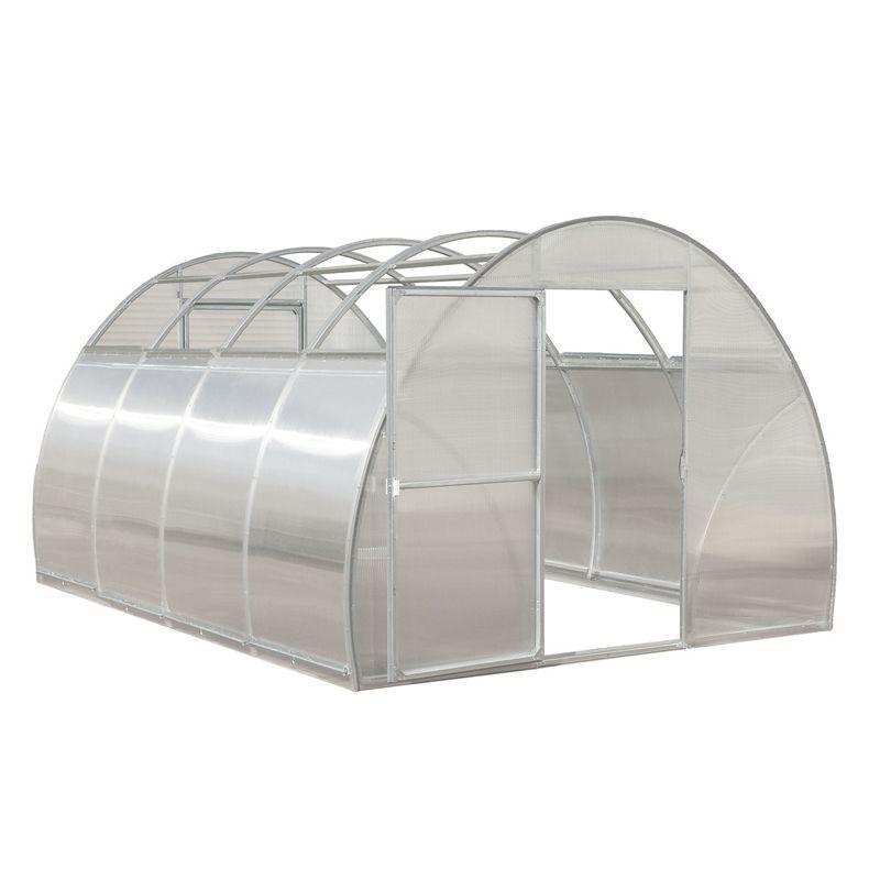 Теплица под поликарбонат Воля Презент 6,3 (каркас)Теплица под поликарбонат (каркас) Воля Презент 6.3<br><br>Каркас арочной теплицы из оцинкованной трубы с раздвижной крышей под сотовый поликарбонат<br><br>с габаритами (ДлинаxШиринаxВысота, м.) 6.3 x 3.0 x 2.2 для использования на частных садовых&amp;nbsp;участках.<br><br>НАЗНАЧЕНИЕ:<br><br>Создание благоприятного микроклимата на площади 18.9 м2 для посадки цветов, овощей, ягод и&amp;nbsp;фруктов в межсезонье.<br><br>ПРЕИМУЩЕСТВА:<br><br>Простой монтаж: не требует установки фундамента (нижняя часть дуг вкапывается в грунт),&amp;nbsp;малое число составных деталей;<br><br>Разборность: отсутствуют сварочные соединения, в комплекте прижимы для укрывного&amp;nbsp;материала;<br><br>Открывающаяся кровля в летнее время используется для проветривания и естественного полива&amp;nbsp;посадок (дождь), а зимой сдвинутые вниз панели избавляют обрешетку от снеговых нагрузок и&amp;nbsp;оставляют землю для природного восстановления плодородия: снег защищает ее от промерзания,&amp;nbsp;а талая вода питает и равномерно увлажняет почву;<br><br>Полукруглая форма крыши (вода и снег не застаиваются на скатах, конденсат скатывается по&amp;nbsp;стенкам, не попадая на растения, солнечный свет распределяется равномерно внутри тепличного&amp;nbsp;пространства);<br><br>Две торцевые двери с углом открытия 180oC и крючками для фиксации в таком положении;<br><br>Шаг между трубами 2 м. облегчает процесс сборки и обеспечивает полную освещенность&amp;nbsp;теплицы;<br><br>Возможность наращивания длины за счет дополнительных вставок;<br><br>Практичность (нет необходимости красить оцинкованные металлические опоры, не представляет&amp;nbsp;интереса для воров);<br><br>Компактная упаковка (вес&amp;ndash; 102 кг) позволяет перевозить на легковом автомобиле, экономя на&amp;nbsp;аренде грузового транспорта.<br><br>Долговечность (стойкая к коррозии квадратная оцинкованная изнутри и снаружи труба 33x33&amp;nbsp;мм).<br><br>РЕКОМЕНДАЦИИ:<br><br>Общие рекомендации