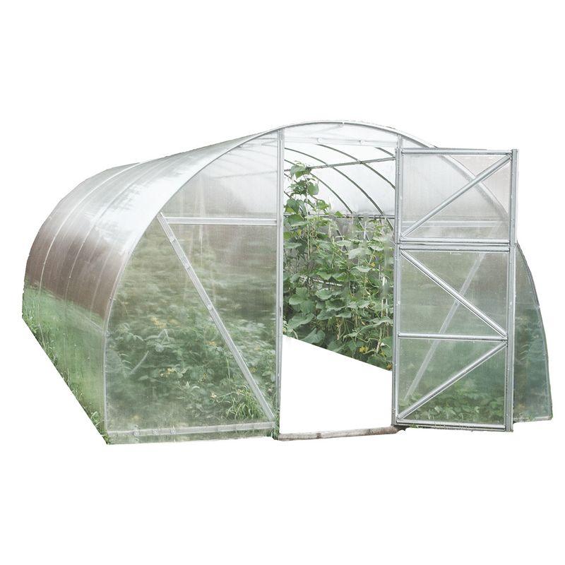 Теплица Воля Дачная-Эко 6 (каркас+поликарбонат 4мм)Теплица под поликарбонат с покрытием Воля Дачная-Эко 6<br><br>Дачная теплица с покрытием из поликарбоната для районов с небольшой снеговой нагрузкой<br><br>НАЗНАЧЕНИЕ:<br><br>Теплица предназначена для создания особого микроклимата при выращивании садовых растений и продления времени их плодоношения.<br><br>ПРЕИМУЩЕСТВА:<br><br>Каркас теплицы сделан из оцинкованной низкоуглеродной стали &amp;mdash; не подвержен коррозии;<br>Для установки теплицы не требуется заливать фундамент, нужно лишь углубить каркас в грунт;<br>Благодаря арочному строению снег легко скатывается с крыши;<br>Разобранную теплицу возможно транспортировать на легковом автомобиле;<br>В комплект входит все необходимое для установки &amp;mdash; и крепления, и подробная инструкция;<br>Возможно наращивать длину теплицы при необходимости;<br>Шаг дуги 0,65м, поэтому каркас теплицы выдерживает нагрузку снежного покрова до 20 кг/м2 и не проседает;<br>При необходимости конструкцию можно усилить дополнительными профилями или подпорками, которые приобретаются отдельно;<br>При помощи торцевых дверей и форточек с обеих сторон легко можно создать нужный температурный режим;<br>Покрытие из поликарбоната прочное и прозрачное (пропускает около 90% естественного освещения);<br>Теплицу можно переставить с одного места на другое &amp;mdash; вес одной секции 20-25кг.<br><br>Рекомендации по работе:<br><br>Рассчитывайте возможную снеговую нагрузку, при необходимости &amp;mdash; снимайте покрытие на зиму;<br>Располагайте каркас на плоской и ровной поверхности;<br>Производите техническое обслуживание теплицы в зимний период;<br>При монтаже теплицы избегайте провисаний профилей, они могут погнуться, используйте подставки или стулья;<br>При сборке осуществляйте крепление по всем отверстиям, это сделает конструкцию максимально прочной;<br>Предварительную сборку производите без затягивания винтовых соединений.<br><br>МЕРЫ ПРЕДОСТОРОЖНОСТИ:<br><br>При монтаже теплицы берегите руки
