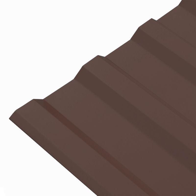 Профнастил МП-20 1150x2000 (ПЭ-8017-0,45 мм) шоколадИспользуется для облицовки фасадов зданий, устройства кровли и создания<br>уличных ограждений. Металлические листы с профилем в форме<br>трапециевидной гофры, высота профиля составляет 20 мм.<br><br>Монтажная ширина: 1100 мм; Тип профиля: МП-20; Цвет: Шоколадно-коричневый; Длина: 2000 мм; Толщина: 0,45 мм; Ширина: 1150 мм; Покрытие: ПЭ (полиэстер); Толщина покрытия: 25 мкм; Количество волн: 9; Вес: 9 кг; Высота волны: 20 мм; Шаг волны: 67,5 мм; Производитель: Металлпрофиль; Гарантия: 1 год;