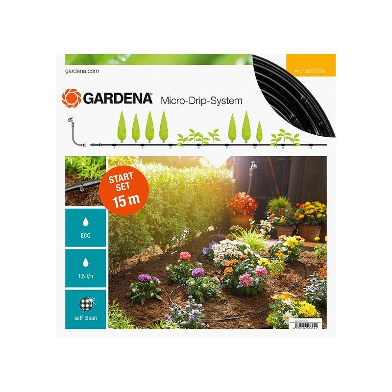 Комплект базовый для наземной прокладки арт 13010 Gardena<br>Площадь полива: 20 м?; Предназначение: Для грядок; Дополнительные свойства: Нет особых свойств; Тип: Капельная; Производитель: Gardena; Тип включения: Без автоматики;
