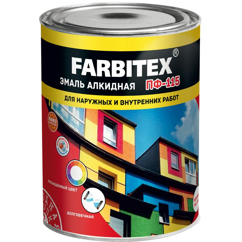 Эмаль ПФ-115 FARBITEX черная, 1,9кг